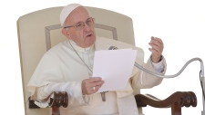 Pope Francis delivers speech at the Vatican