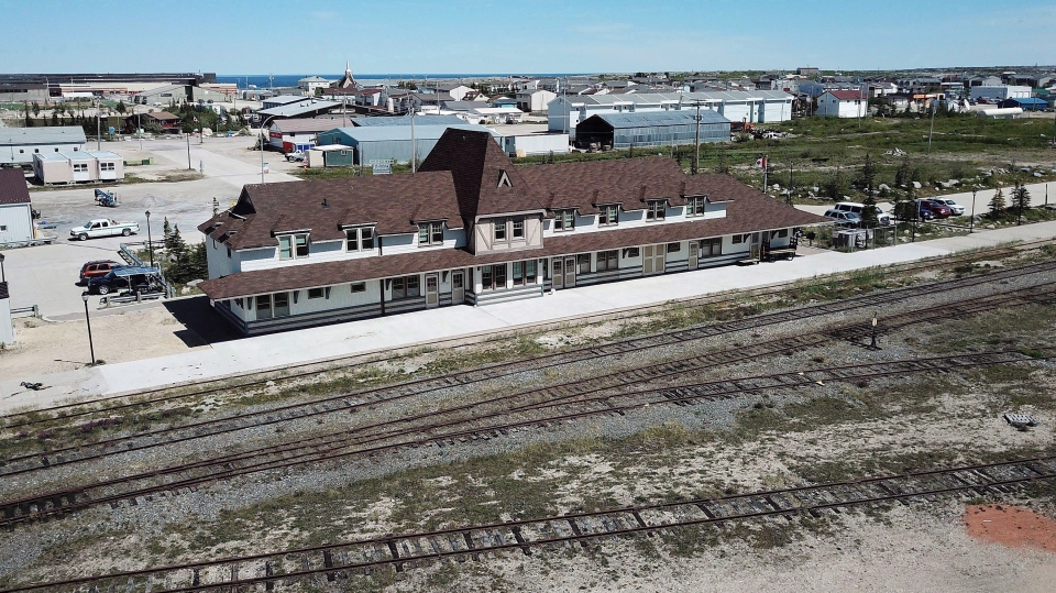 An aerial view of the rail line and Via station is shown in Churchill, Man., on July 4, 2018. (THE CANADIAN PRESS/John Woods)