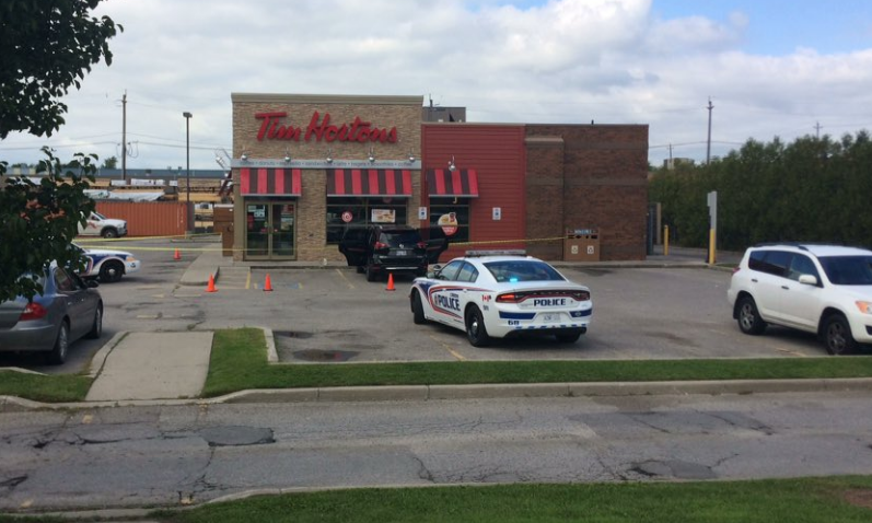 Shooting investigation at a London Ont. Tim Hortons on Dundas Street East on Sept. 12, 2018. (Sean Irvine/CTV)