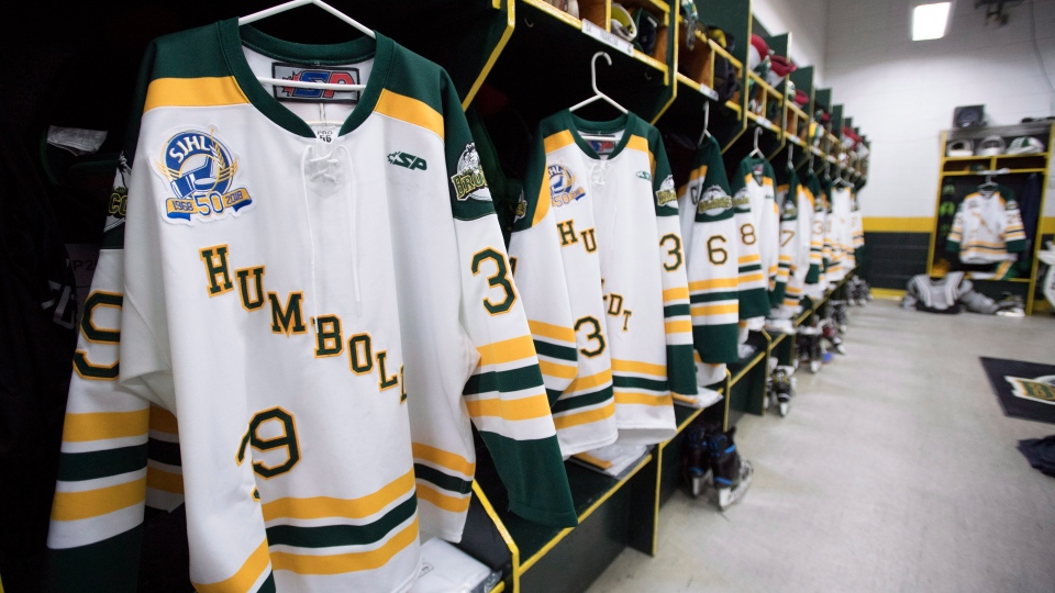 The inside of the Humboldt Broncos locker room is pictured Wednesday, September, 12, 2018. (Jonathan Hayward/ The Canadian Press)