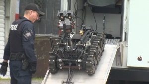Police in Port Alice used a bomb-disposal robot to investigate after a man was injured in a mail-bomb explosion Tues., Sept. 11, 2018. (CTV Vancouver Island)