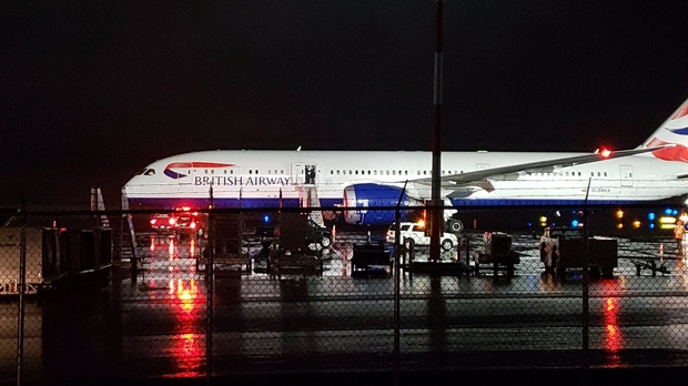 A British Airways Being 787-9 Dreamliner at Iqaluit Airport on Wednesday night (photo courtesy: Jimi Onalik)