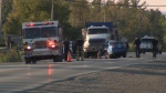A woman was killed in a two car crash that involved a dump truck on Moodie Dr. Wednesday night. (Shaun Vardon/CTV Ottawa, September 12, 2018)
