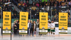 Humboldt Broncos honour bus crash victims after ga