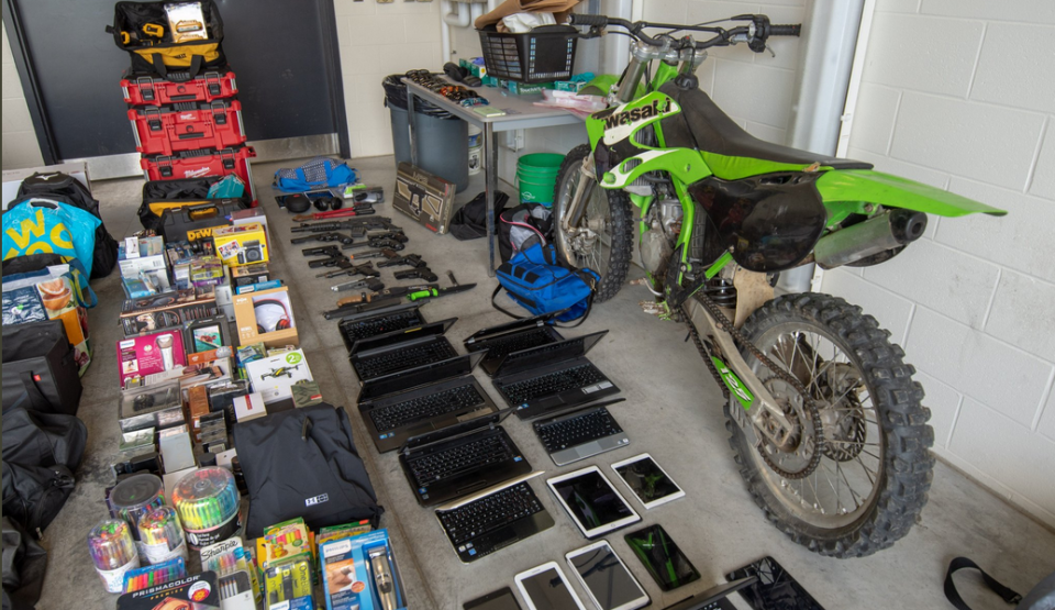 Police recovered several high end bicycles, a motocross bike, several imitation and pellet guns, electronics, power tools, jewelry, laptops and phones. (source: WRPS)