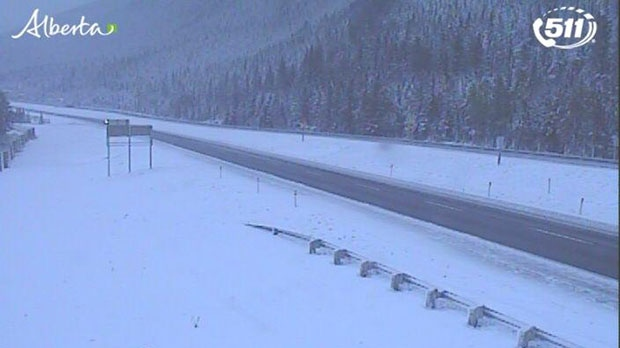Snowfall west of Canmore (511 Alberta)