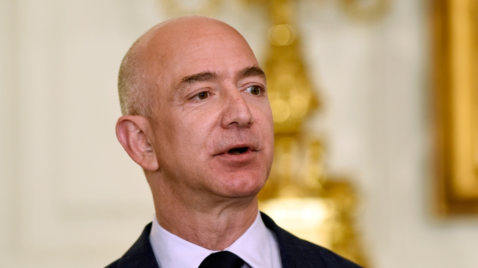 FILE - In this May 5, 2016, file photo, Jeff Bezos, the founder and CEO of Amazon.com, speaks in the State Dining Room of the White House in Washington. (AP Photo/Susan Walsh, File)