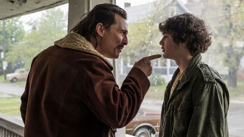 Matthew McConaughey, left, and Richie Merritt in a scene from 'White Boy Rick.' (Scott Garfield / Sony / Columbia Pictures and Studio 8 via AP)