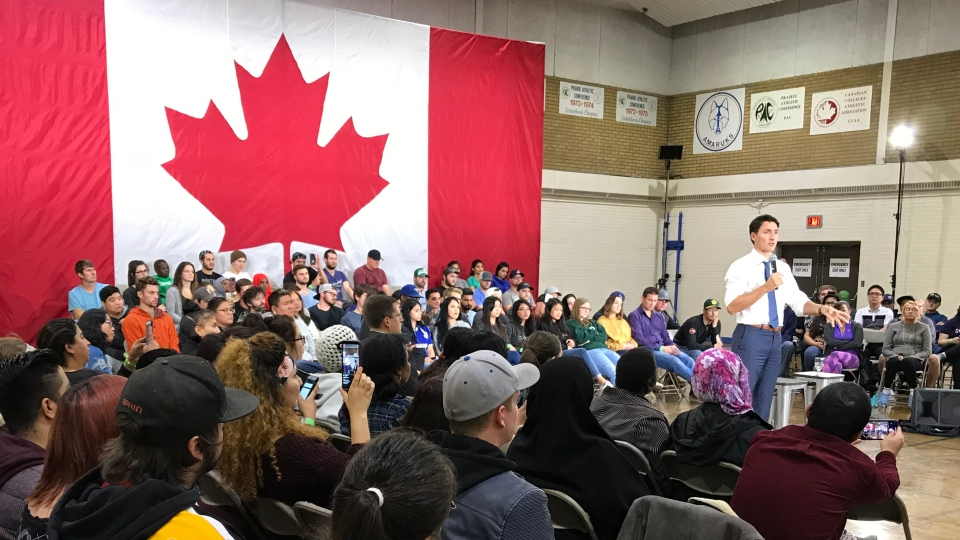 Justin Trudeau speaks at a town hall in Saskatoon Thursday, Sept. 13. (Dale Cooper/CTV)