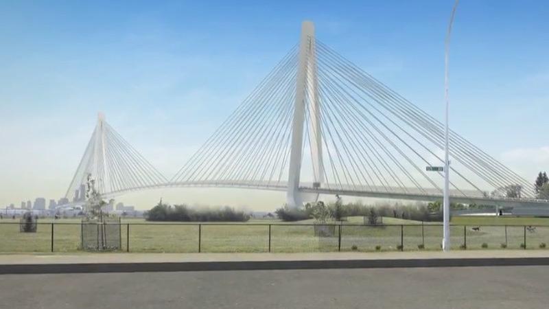 A still taken from video posted online by the City of Edmonton shows a possible design for the Walker Bridge, which would cross Yellowhead Tr. and the Calder Railyard.