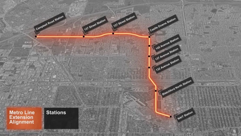 A potential route for the Metro LRT Line, between the NAIT and Campbell Road stations, as seen in a video posted online by the City of Edmonton.