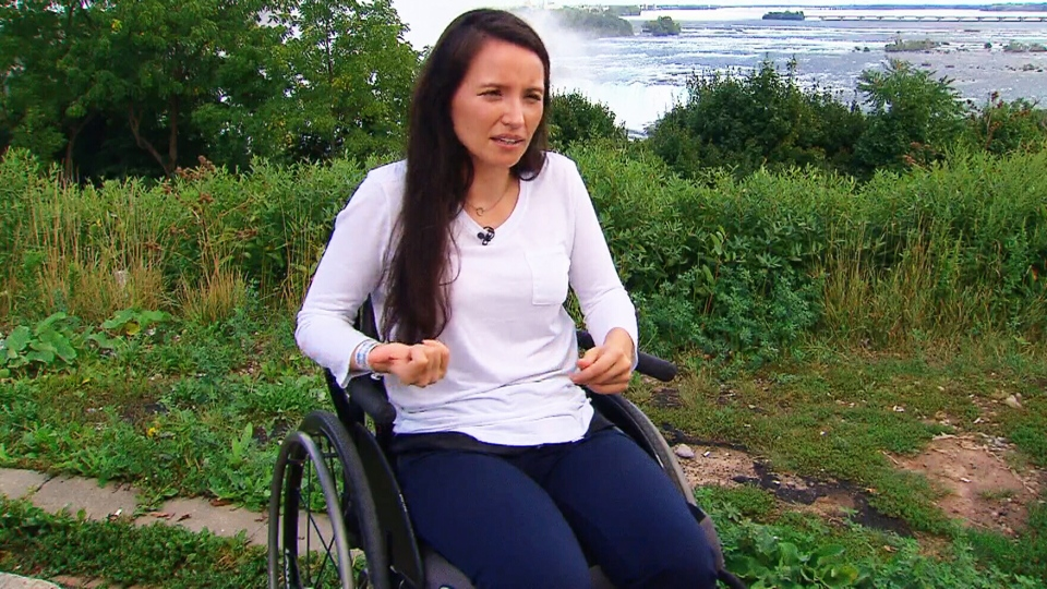 Danielle Kane, who was paralyzed in the July 22 Danforth shooting, is interviewed in Niagara Falls, Ont. (CTV Toronto)