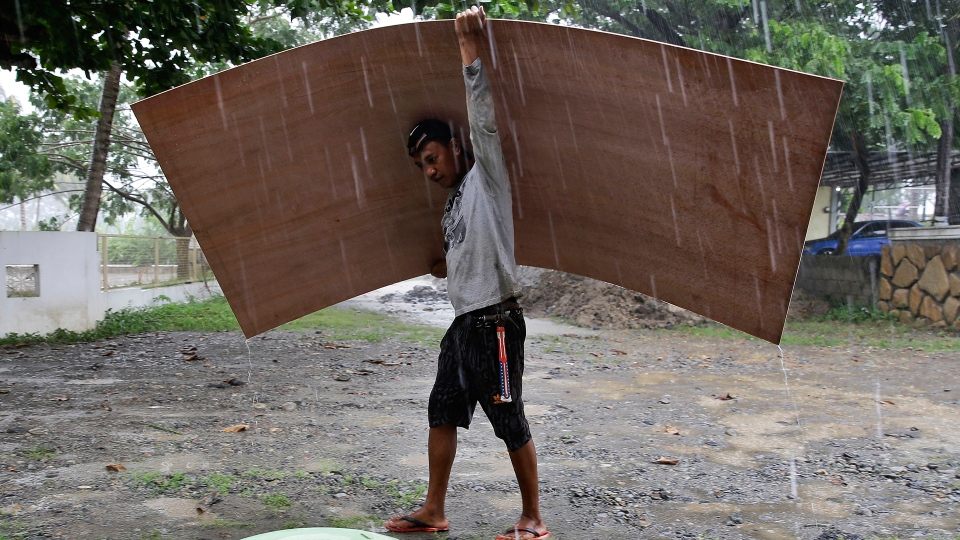 A worker uses a sheet of plywood to cover himself from the rain as Typhoon Mangkhut nears Cagayan province, northeastern Philippines on Friday, Sept. 14, 2018. (AP / Aaron Favila)