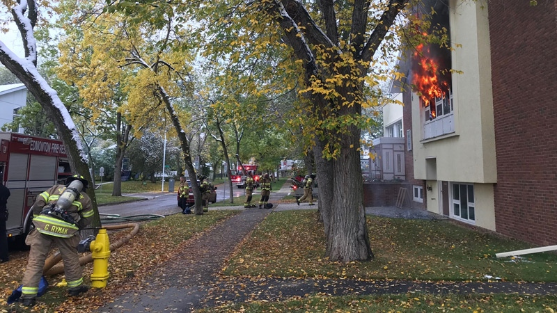 Fire crews were still working to put out a fire at Highlands United Church midday Friday, after a break and enter that morning. Submitted.