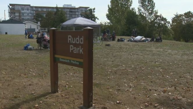 Splintered after they were forced to leave Regina Park in Saanich, some homeless campers moved to nearby Rudd Park, prompting concern from neighbours. Sept. 14, 2018. (CTV Vancouver Island)