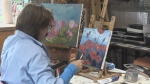 Jane Roy painting poppies