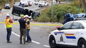 A crash on Sooke Road in 2018, where the province has announced new safety upgrades. (CTV Vancouver Island)