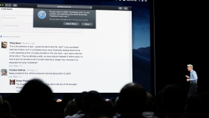 In this June 4, 2018, photo Craig Federighi, Apple's senior vice president of Software Engineering speaks during an announcement of new products at the Apple Worldwide Developers Conference in San Jose, Calif. (AP Photo/Marcio Jose Sanchez)