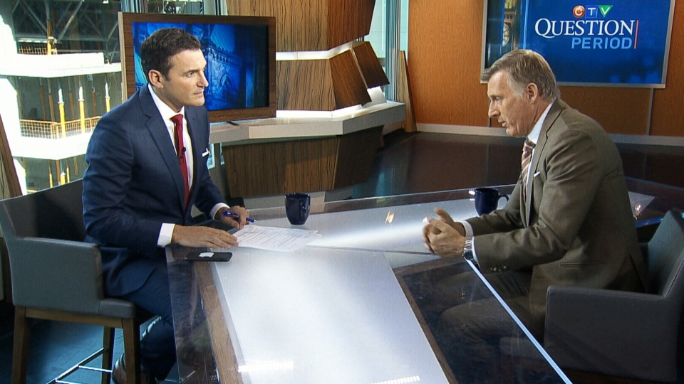 Maxime Bernier being interviewed by Evan Solomon, host of CTV's Question Period.