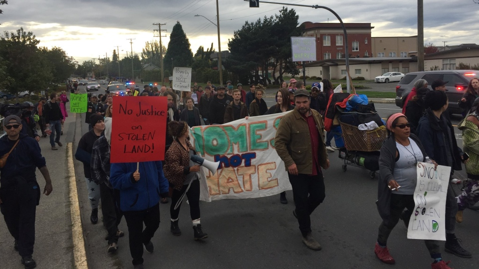 Tent city campers marched to Saanich Municipal Hall Friday, Sept. 14, 2018, shutting down roads en route to the building as part of an ongoing protest. (CTV Vancouver Island)