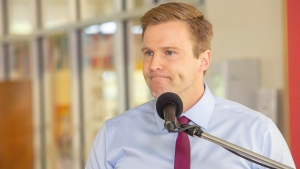 New Brunswick Liberal Leader Brian Gallant speaks at a campaign stop in Fredericton on Wednesday, Sept. 5, 2018. (THE CANADIAN PRESS/James West)