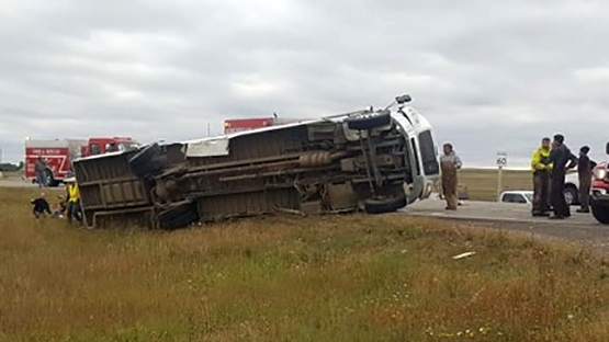 A bus and a semi collided near Kerrobert, Sask. on Sept. 14, 2018.