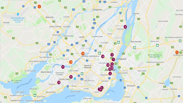 A map of Montreal's homicides in 2018