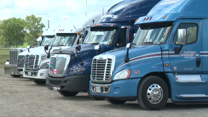 Transport trucks lined up for the convoy