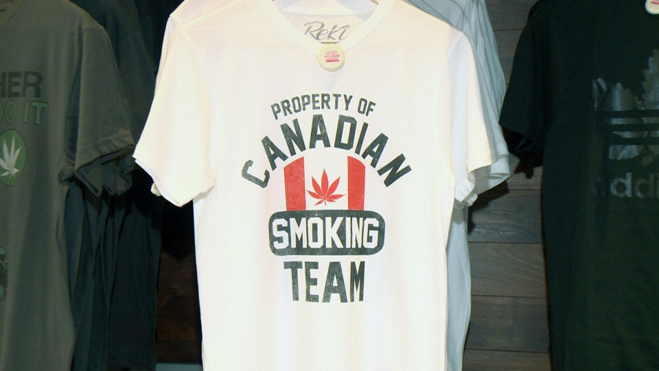 A t-shirt decorated with a cannabis leaf is seen in a Montreal smoking accessories shop. Under Quebec's cannabis law, retailers across the province will be banned from selling such products. (CTV Montreal)