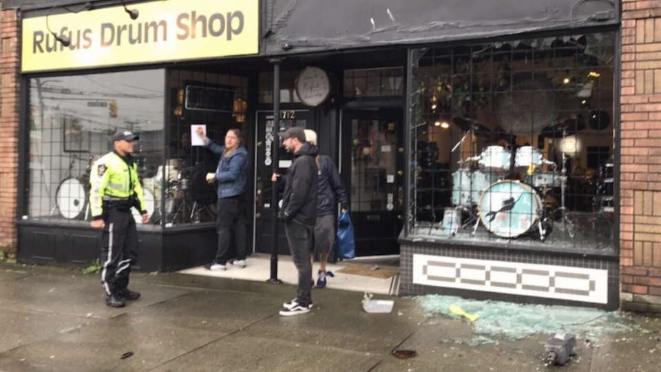 The truck smashed into Rufus Drum Shop's storefront.