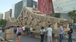Volunteers built it in the Quartier des Spectacles