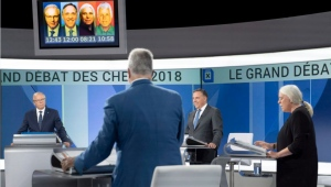 PQ leader Jean-Francois Lisee, left, CAQ leader Francois Legault, Quebec Solidaire leader Manon Masse and Liberal leader Philippe Couillard take part in the leaders debate Thursday, September 13, 2018 in Montreal, Quebec. THE CANADIAN PRESS/Paul Chiasson