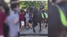 Cell phone video of a woman run over by a horse