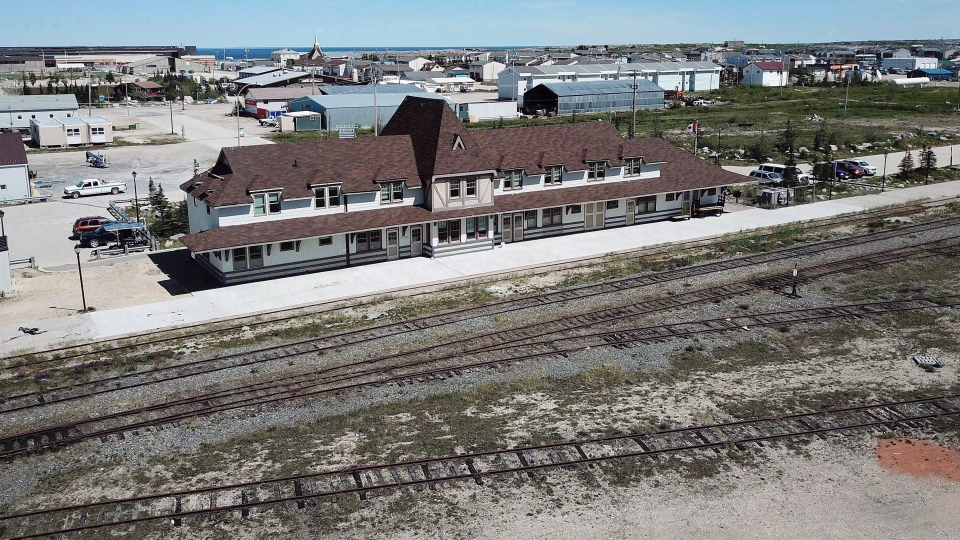 FILE -- An aerial view of a rail line is shown in Churchill, Man., on July 4, 2018. (THE CANADIAN PRESS/John Woods)