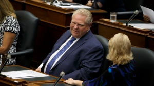 Ontario Premier Doug Ford is seen during a sitting of the legislature, inside Queens Park in Toronto on Saturday, Sept. 15, 2018. THE CANADIAN PRESS/Cole Burston