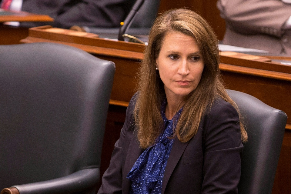 Ontario Attorney General Caroline Mulroney takes her seat as the Ontario Legislature holds a midnight session to debate a bill that would cut the size of Toronto city council, in Toronto, on Monday, September 17, 2018. THE CANADIAN PRESS/Chris Young