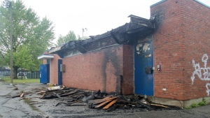 The chalet that was part of the Pie IX pool was destroyed by arsonists the night of May 25, 2018 (Photo courtesy city of Laval)