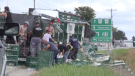 A group of people moving cages of chickens, which spilled from a transport truck.