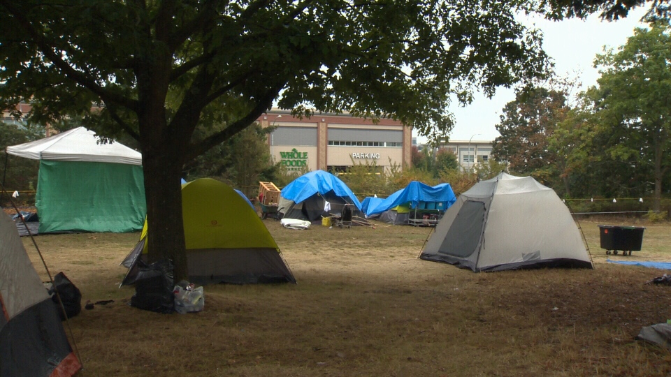 Police asked the province to allow officers to enforce the Trespass Act after as many as 75 people moved to the grassy patch, which is along Ravine Way north of Uptown Mall. Sept. 16, 2018. (CTV Vancouver Island)
