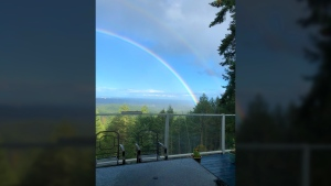 A rainbow showed up over Metchosin Sunday, Sept. 16, 2018. (Courtesy PB)