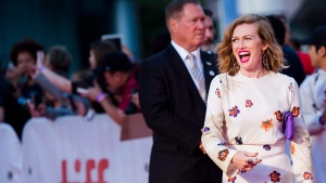 """Actress Mireille Enos poses on the red carpet for the film """"The Lie"""" during the 2018 Toronto International Film Festival in Toronto on Thursday, September 13, 2018. THE CANADIAN PRESS/Nathan Denette"""