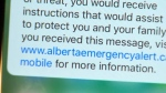 Alberta Emergency Alert - text message