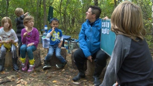 Children learn outdoors at Winnipeg's Beaver Creek Academy.