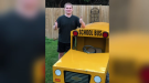 Dylan is surprised after his family builds him a miniature school bus.