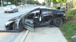Car crash in Kitchener leaves one person with minor injuries.