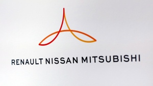 This Friday Sept. 15, 2017 file photo shows the new logo of the Renault-Nissan-Mitsubishi alliance during a press conference in Paris, France. (AP Photo/Thibault Camus, File)