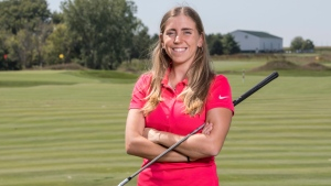 In this Sept. 7, 2017, photo provided by Iowa State University in Ames, Iowa, golfer Celia Barquin Arozamena poses for a photo. (Luke Lu/Iowa State University via AP)