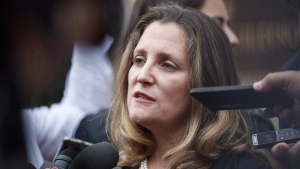 Canadian Foreign Affairs Minister Chrystia Freeland speaks to the media as she arrives at the Office Of The United States Trade Representative in Washington on September 11, 2018. THE CANADIAN PRESS/AP, Carolyn Kaster