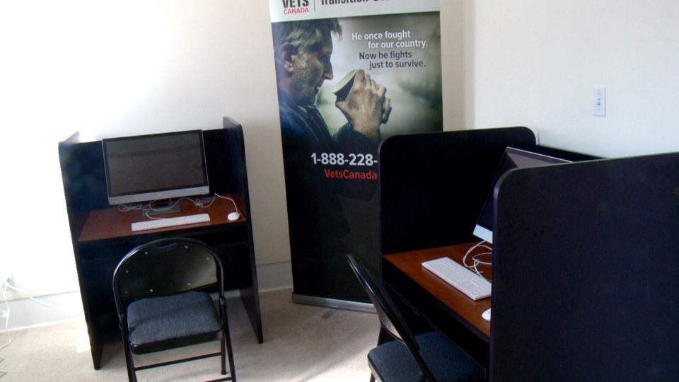 Vets Canada has opened a drop-in support centre for veterans in need in Ottawa. Pictured here is the computer centre which allows veterans to access the internet.
