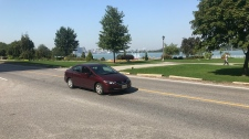 Windsor residents are pushing for a pedestrian crossover on Riverside Drive near Coventry Gardens and Reaume Park in Windsor, Ont., on Tuesday, Sept. 18, 2018. (Rich Garton / CTV Windsor)
